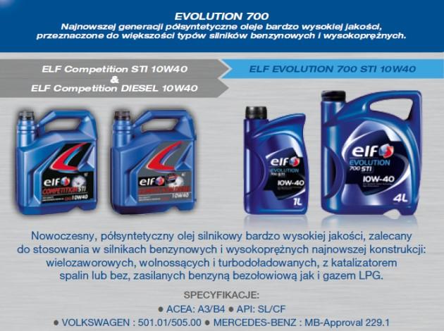 Elf Evolution 700 STI 10W40 zastępuje olej silnikowy Elf Competition STI 10W40